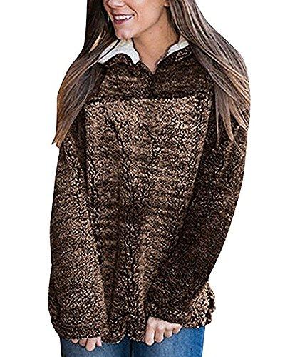 Seraih Women Contemporary Faux Shearling Vest Winter Warm Sherpa Sweatshirts Pullover (L, Coffee)