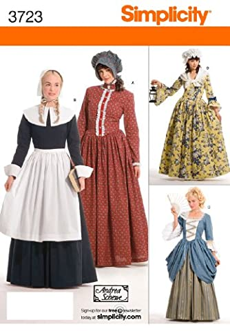 Simplicity Sewing Pattern 3723 Women's Pioneer Pilgrim Costumes Size R5 (Bunting Modello)
