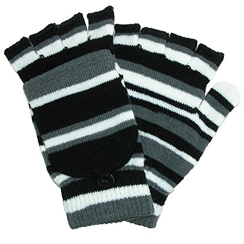 Grand Sierra Women's Striped Convertible Mitten to Glove, Black (Glove Convertible Striped)