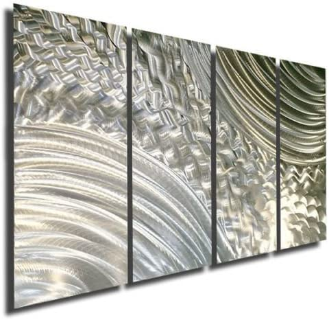 Statements2000 Breath Taking Natural Silver Modern Abstract Etched Metal Panel Wall Art