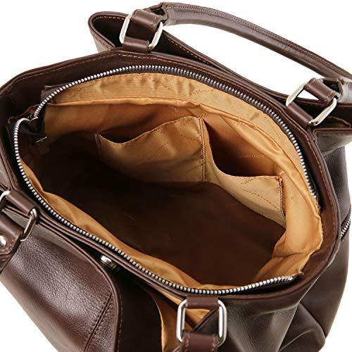 con in TLBag Leather Nero Borsa Moro tasche TL141722 Testa pelle Tuscany a Di frontali spalla 0Twxq