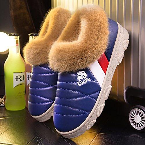Scarpe fankou cotone pantofole inverno femmina ad alta busta con pelle pu addensamento alla fine del warm indoor anti-scivolo per trascinare, fondo spesso 52-53 metri [per 49-50 piedi indossare], [fon