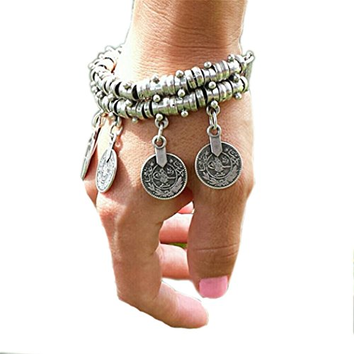 SUNSCSC Silver Plated Coin Drop Belly Bracelet Dance Bangle Ethnic Bohemian Jewelry Anklet Chain Alloy