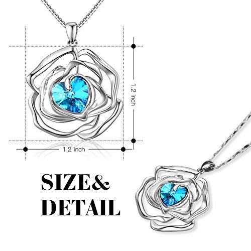 "Menton Ezil ""Rose Lover Swarovski Necklace 18K White Gold Flower Pendant Fashion Jewlery – Gift of Love"