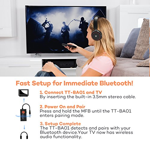 Large Product Image of [Updated Version]TaoTronics Wireless Portable Bluetooth Transmitter Connected to 3.5mm Audio Devices, Paired with Bluetooth Receiver, TV Ears, Bluetooth Dongle, A2DP Stereo Music Transmission