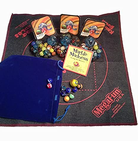 Big Blue Bag of Marbles Game Set - Bundle of Over 130 Quality Marbles, Game Mat, Marble Madness Mini-Booklet and Blue Velveteen Drawstring - Playing Marbles