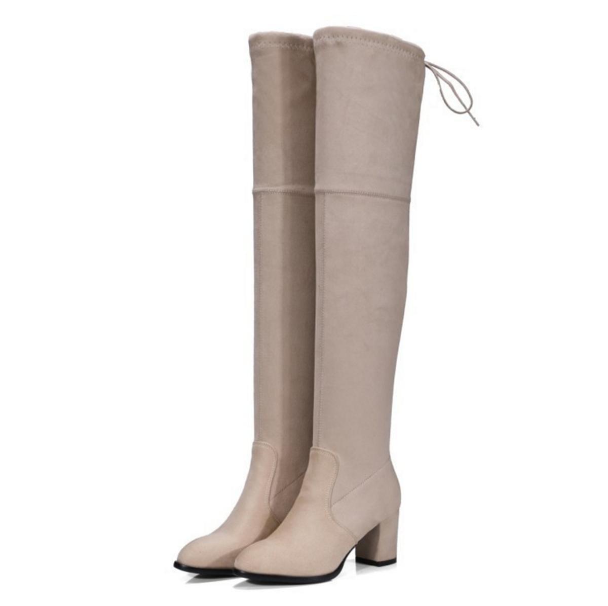 Donne Alta sopra ginocchio Stivali alti Stivali lunghi Nuova moda Testa rotonda Mid Rough Heel Scrub Stretch Black Primavera Autunno Inverno…