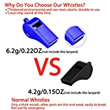 Hipat Whistle with Lanyard, 2 Packs Blue Plastic
