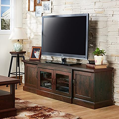 Furniture of America Walder Vintage Walnut 68-inch TV Stand - Cherry Finished Tv Stand