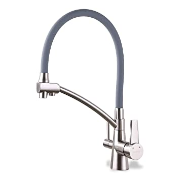 GAPPO Wasserhahn für Küche Küchenarmatur mit Brause 3 Wege Wasserhahn  Wasserfilter gebürstet Nickel 360 Schwenkbereich, Grau, MEHRWEG