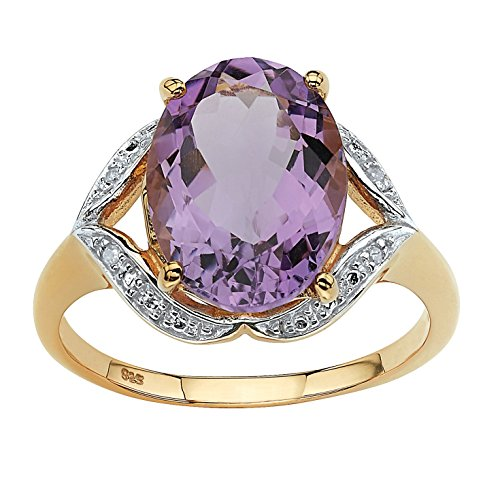 Genuine Purple Amethyst and Diamond Accent 18k Gold over .925 Sterling Silver Ring Size (Diamond Amethyst Ring Gold Jewelry)