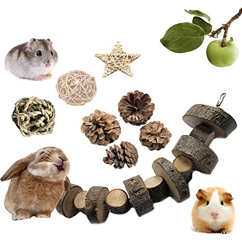 (VCZONE Bunny Chew Toys, Rabbit Pet Tooth Chew Toys Organic Natural Apple Wood Grass Cake Ideal for Bunny, Chinchilla, Guinea Pigs, Hamsters Teeth Grinding (8 Pack))
