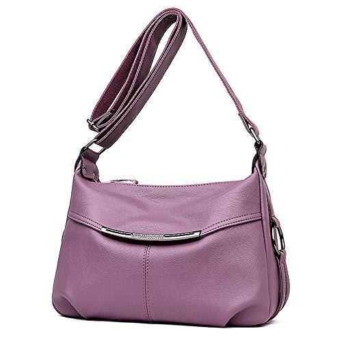 Meaeo Nueva Dama Bolso De Cuero Pu Mujer Bolsas De Hombro Famoso Diseñador Vintage Mujer Señoras Bolsas Bandoleras Monederos Sac,Borgoña Purple