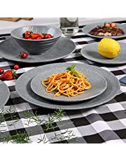 Plates and Bowls Set - 12pcs Melamine Dinnerware Sets, Indoor and Outdoor Use, Grey