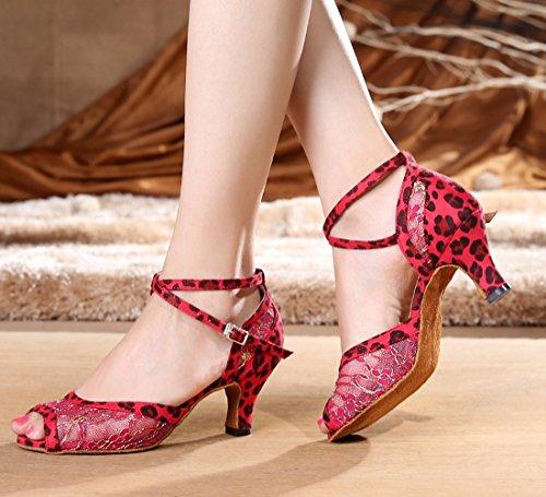 Tda Dames Lace Leopard Suede Enkelbandje Salsa Tango Ballroom Latin Moderne Dansschoenen Rood