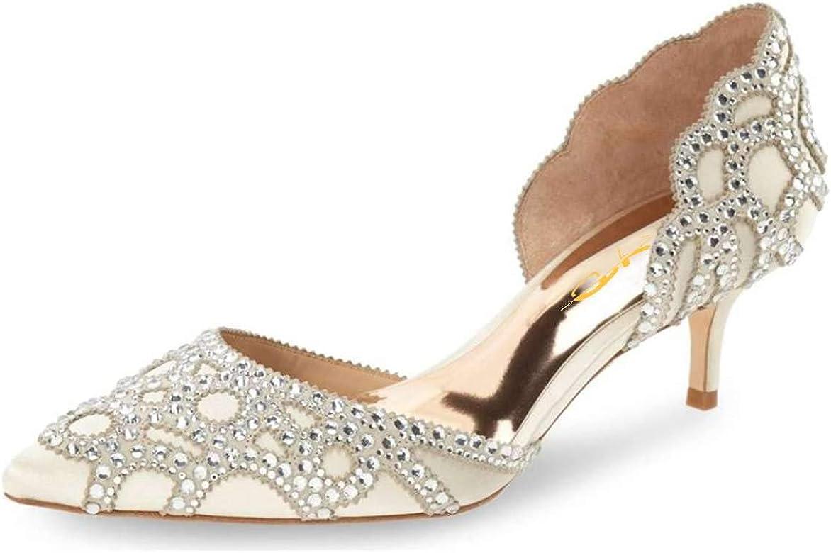 7a190b115a4f1 Amazon.com | XYD Women D'Orsay Wedding Pumps Pointed Toe Low Kitten ...