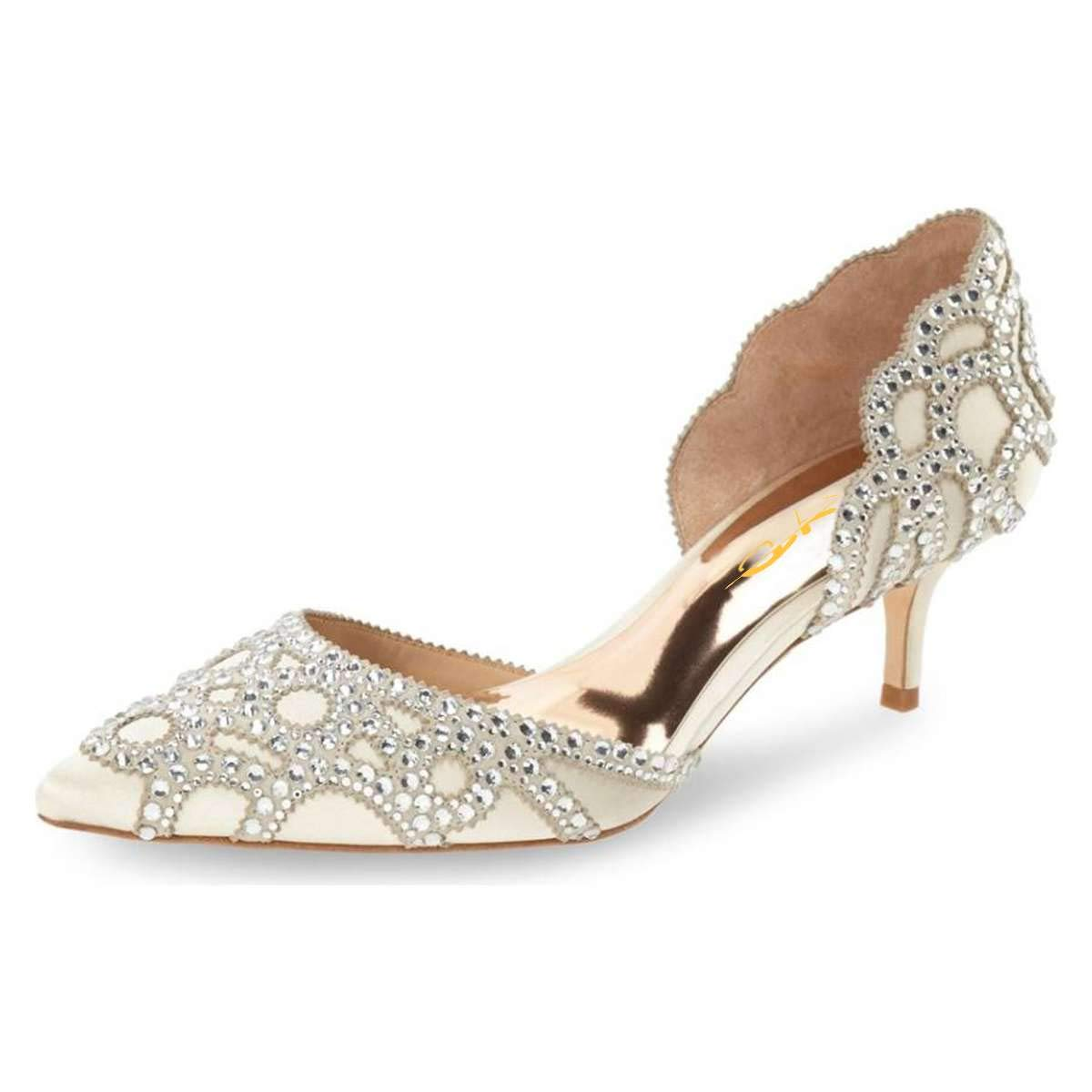 buy best authentic quality finest selection XYD Women D'Orsay Wedding Pumps Pointed Toe Low Kitten Heels Slip On  Rhinestones Bridal Shoes