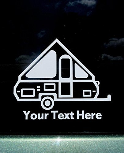 Personalized A-frame Pop Up Camper Travel Trailer Vinyl Car Window Decal (Chalet Window)