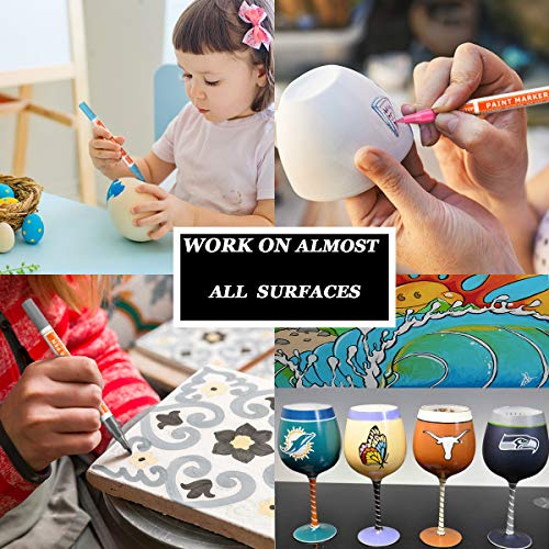 Acrylic Paint Pens for Rock Painting, 24 Bright Colors Paint Markers Kit for Glass, Stone, Wood, Fabric, Metal, Ceramic, Rock & More, Extra Fine Tip, Water Based, Acid Free Non Toxic, Quick-Dry by Niutop (Image #6)