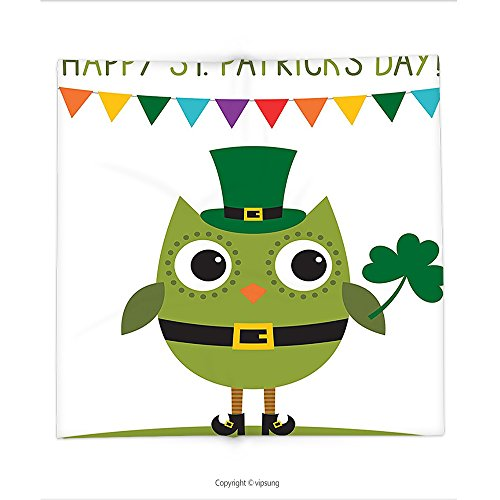 Custom printed Throw Blanket with St. Patricks Day Decor Owl with Leprechaun Costume Greeting Design Party Shamrock White and Olive Green Super soft and Cozy Fleece Blanket