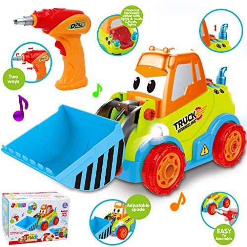 (Take-Apart Truck Toy DIY Construction Bulldozer Assembly Light and Sound Car Truck with Drill and Tools, LED Light Up for 3 4 5 Years Old Boys Girls, Toddler Learning, STEM Educational Gift, Stuffers)