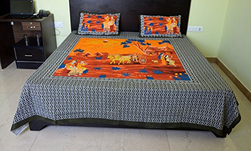 (King Size Bed sheet Rajasthani Print Double King Size Rajwadi Design Hand Block Printing 100% Cotton Bed sheet Traditional Jaipuri Bedsheet With Two Pillow Covers Exclusive By