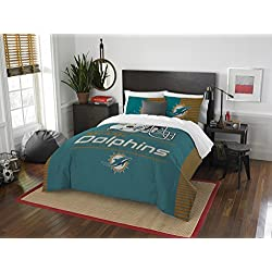 The Northwest Company NFL Miami Dolphins Draft Full/Queen Comforter and 2 Sham Set