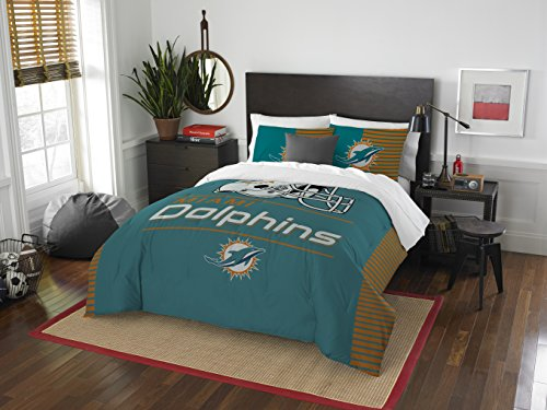 NFL Miami Dolphins Draft Full/Queen Comforter and 2 Sham - Queen Comforter Football Nfl Bedding