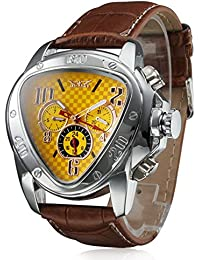 Mens Automatic Mechanical Triangle Dial Leather Band Wrist Watch - Yellow. JARAGAR