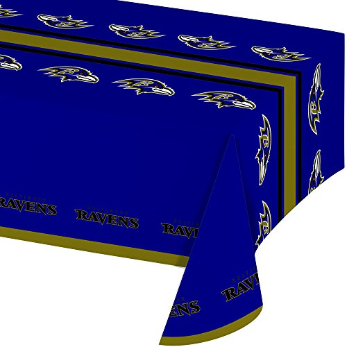 Baltimore Ravens Decorations - Creative Converting Officially Licensed NFL Plastic Table Cover, 54x102, Baltimore Ravens