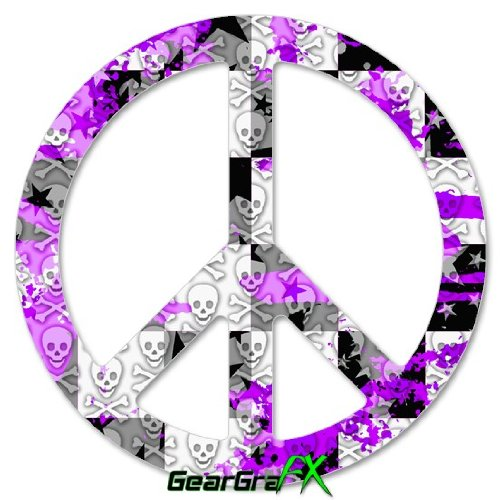 (Purple Checker Skull Splatter - Peace Sign Car Window Decal 6 x 6 inches)