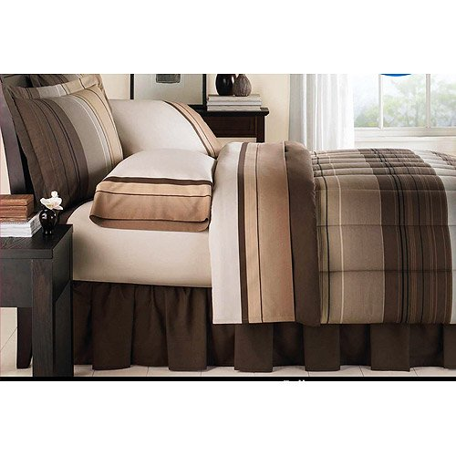 Wal Mart Bed In A Bag (Brown & Tan Striped Boys Twin Comforter Set (6 Piece Bed In A Bag))