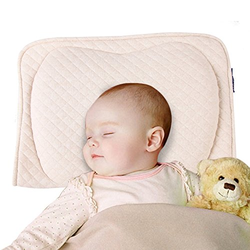 Baby Protective Pillow,Baby Head Shaping Memory Foam Pillow. KEEP an Infant's head round. Prevent Plagiocephaly or Flat Head Syndrome (Beige)