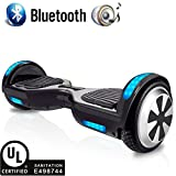 RAYHIGH Hover Board with Bluetooth Speaker, UL2272 Certified Black Hoverboard, 6.5'' Two-Wheel Self Balancing - 250W Dual Motor | Aluminum Alloy Wheels | 9.6Km/hr Max | 225lbs Max