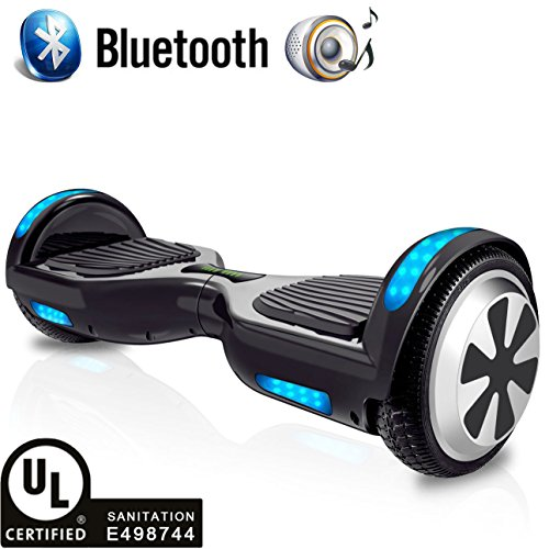 "RAYHIGH Hoverboard Two-wheel Self-balancing Scooter with Bluetooth Speaker – UL2272 Certified Hover Board(9.6Km/hr Max 225lbs Max) with 6.5"" Aluminum Alloy Wheels,250W Dual Motor-Black"