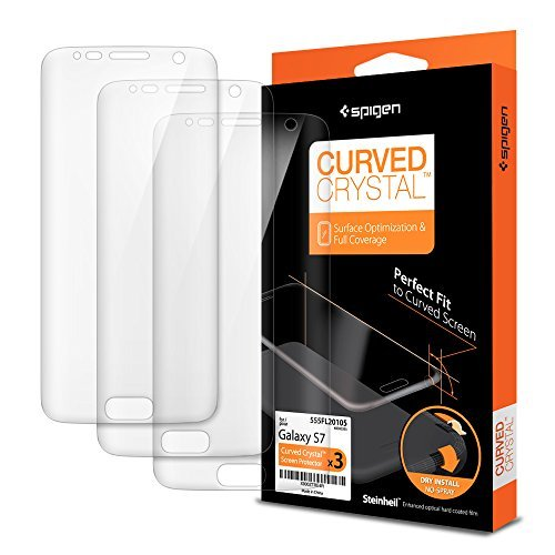 Galaxy S7 Screen Protector, Spigen® Premium [Curved Crystal Film -3 Pack] Ultra Clear [Full Coverage] Screen Protector for Samsung Galaxy S7 [Lifetime Warranty] - 555FL20105