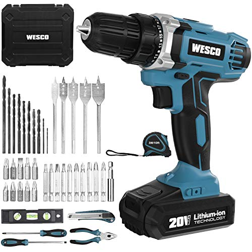 Cordless Drill/Driver, WESCO 20V Electric Drill Set 42pcs with Lithium-ion Battery and Charger, 21+1 Clutch, 3/8\