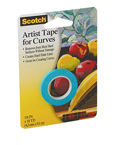 "3M Safety 051131936133 Scotch FA2038 3M 1/8-Inch Artist Curves Tape, 1/8"" x 10 Yard Roll, Original Version"