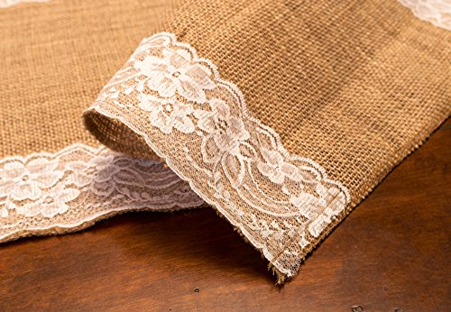 Burlap Table Runner with Lace {12'' x 360 inches Long} ~ A Burlap Fabric Roll with White Lace and Finished Edges ~ A Perfect Burlap Roll Lace Runner for Rustic Weddings and Events! by Designer Burlap (Image #8)