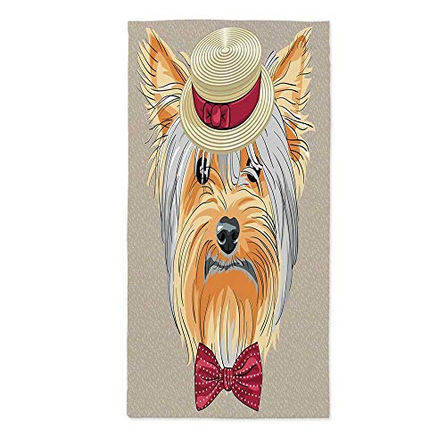 Yorkie Soft Tablecloth,Hipster Yorkie with Cute Straw Boater and Bow Tie Hand Drawn Gentleman Dog Decorative for Buffet Table Parties Holiday Dinner Wedding & More,24''W X 48''L