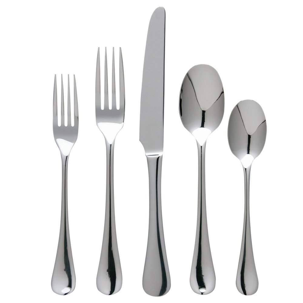 Ginkgo International Varberg 42-Piece Stainless Steel Flatware Place Setting, Service for 8 Plus 2-Piece Hostess Set