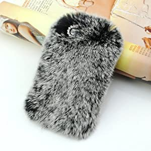 iClover® Luxury Rex Rabbit Fur Case for Iphone 4/4s (Gray)