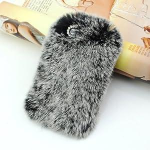 iClover® Luxury Rex Rabbit Fur Case for Iphone 4/4s (Gray)