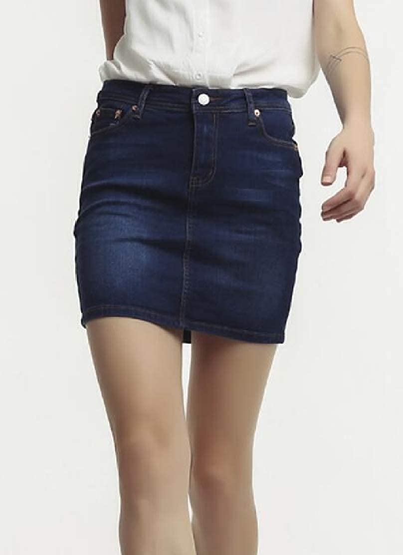 Jotebriyo Women A-Line High Waist Stretchy Denim Bodycon Stylish Mini Skirts Dress