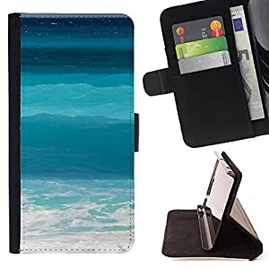 For Apple Iphone 6 Ocean Sea Teal Blue Surf Summer Sun Beautiful Print Wallet Leather Case Cover With Credit Card Slots And Stand Function
