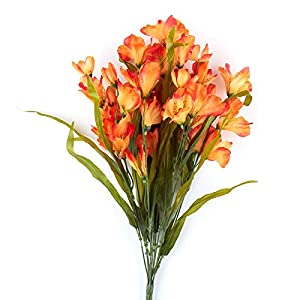 Factory Direct Craft Orange Artificial Alstroemeria Floral Bush for Indoor Decor and Designing 57