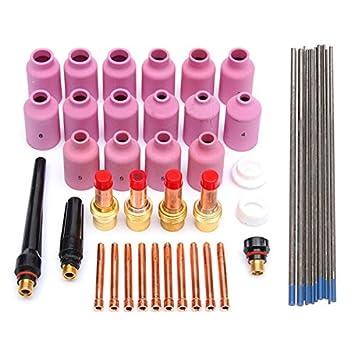 KUNSE 46 Pc TIG Soldadura Soplete Gas Lente Kit Wp-17 Wp-18 Wp-26 Wl20 Lanthanate Tungsteno: Amazon.es: Hogar