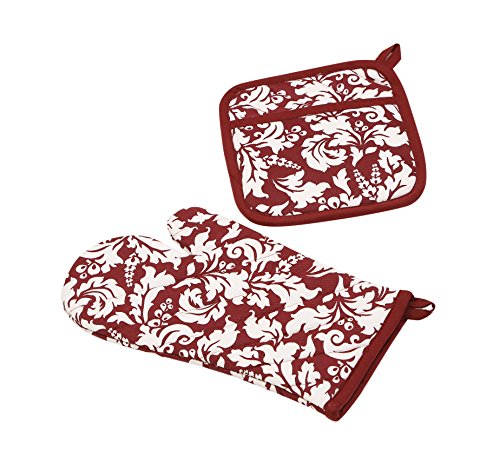 Yourtablecloth Set of Oven Mitt and Pot Holder or Oven Gloves-100% Cotton, High Heat Resistance, Superior Protection & Comfort–Elegant Design-Machine Washable-Blackberry (Designs Oven Mitt Set)