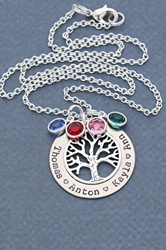 Silver Family Tree Necklace - DII ABC - Grandma Gift - Personalized Children's Name Mother Birthstone Jewelry - 1.25 Inch Washer Swarovski Crystals - Grandmother Birthstone Jewelry
