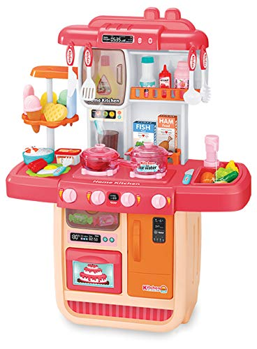 ARHA IINTERNATIONAL Big Size Portable Suitcase Shape Musical Kitchen Set Toy for Kids with Light and Accessories (008-58),Plastic,Multi color(Pack of 1 set)
